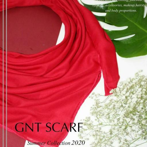 روسری بهاره سوپر نخ بانو دور دست دوز رنگ قرمز- باسلام