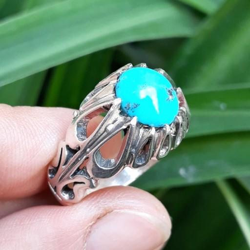 انگشتر نقره مردانه فیروزه نیشابور
