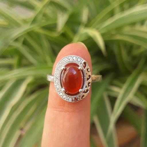 انگشتر نقره زنانه عقیق قرمز یمنی- باسلام