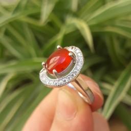 انگشتر نقره زنانه عقیق قرمز یمنی