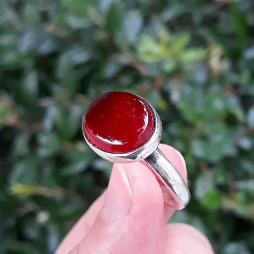 انگشتر مردانه عقیق قرمز خراسان- باسلام