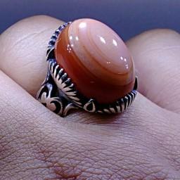 انگشترسه پوست نقره عقیق یمنی
