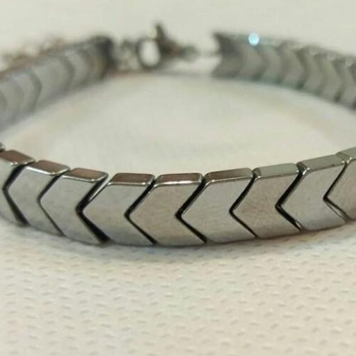 دستبند سنگ حدید فلش نقره ای - باسلام