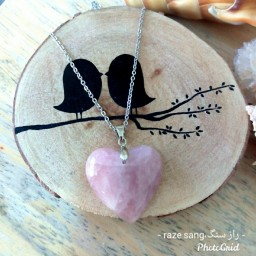 گردنبند قلب رز کوارتز ، کوارتز صورتی ، اصل معدنی