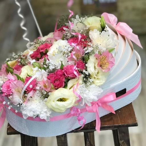 تصویر باکس گل گهواره هدیه تولد نوزاد(ترکیب چرم و مقوایی)