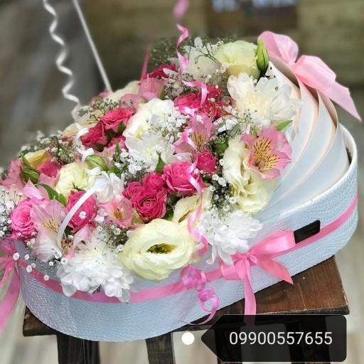 باکس گل گهواره هدیه تولد نوزاد(ترکیب چرم و مقوایی)- باسلام