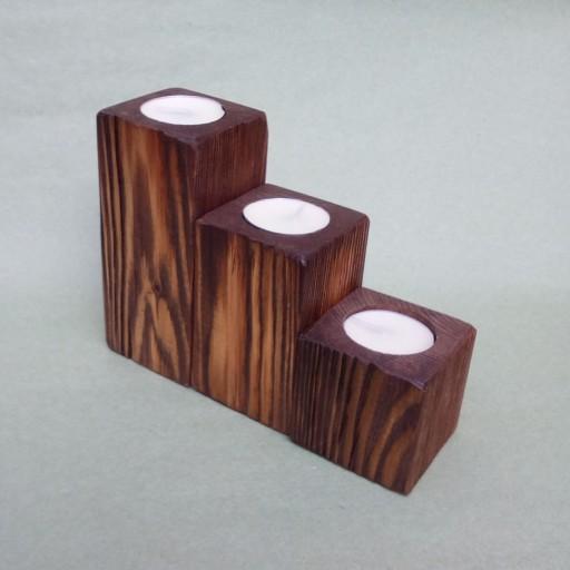 جاشمعی چوبی سه تایی به رنگ قهوه ای به همراه سه عدد شمع وارمر- باسلام