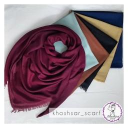 روسری نخی تک رنگ تمام لمه مجلسی قواره دار