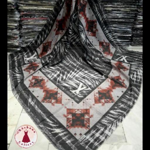 روسری نخی قواره بزرگ  طوسی قرمز مناسب فصل- باسلام