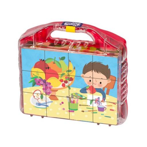 بازی آموزشی مکعب های تصویری آشنایی با خوراکی ها بافرزندان همراه با کتاب کار ، رنگ آمیزی و برچسب- باسلام