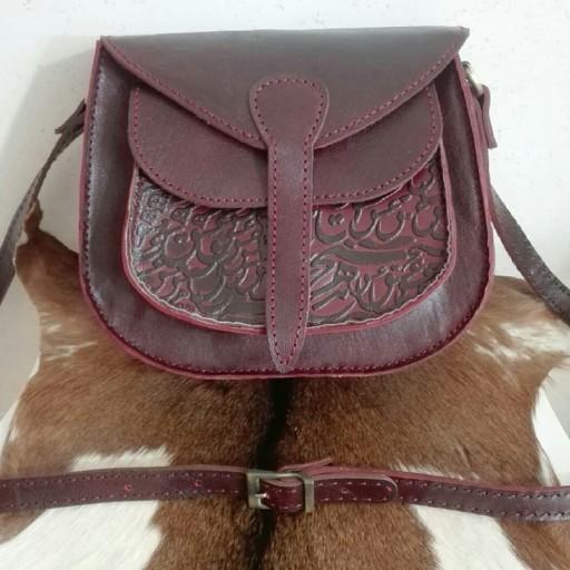 ست کیف دوشی وجا کلیدی زنانه،چرم طبیعی،دستدوز- باسلام