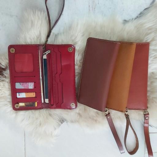 کیف پول چرم طبیعی گاوی دست دوز(به همراه یک عدد جاکلیدی چرم ست هدیه)- باسلام