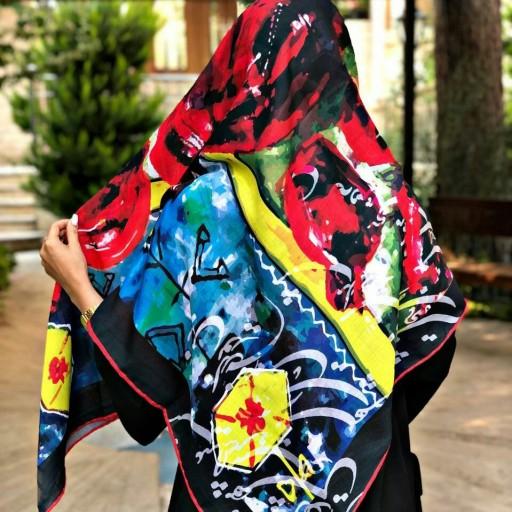 روسری نخی جناقی  پاییزه طرح انار هندسی- باسلام