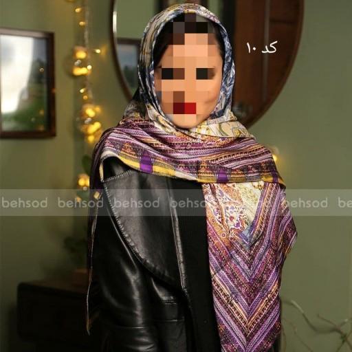 روسری زیبای ساتن دور دوخت- باسلام