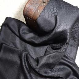 روسری مشکی نخی ژاکارد لمه دار