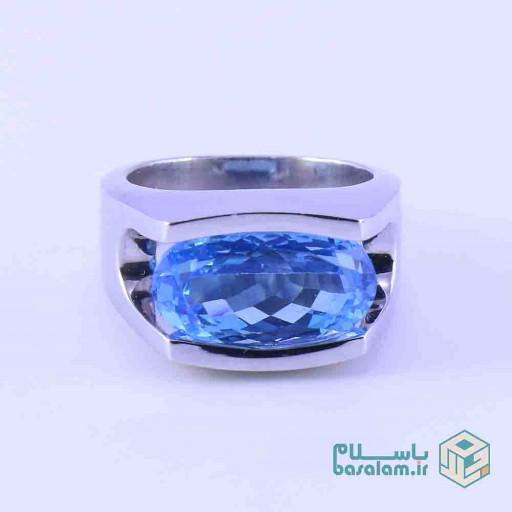 انگشتر توپاز آبی نقره مدل کلاسیک باز- باسلام