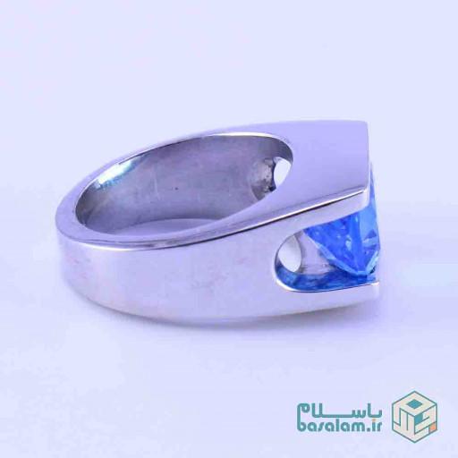 انگشتر توپاز آبی نقره مدل کلاسیک باز - باسلام