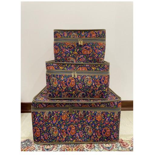 ست 3 تایی باکس با پارچه چاپی لمینت شده با فوم و آستر- باسلام