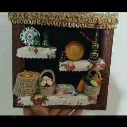 دست سازهای کوچک من جاکلیدی دیواری طرح آشپزخانه مینیاتوری محصولی از ستاره چوبی