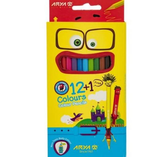 مداد رنگی 12 رنگ آریا جعبه مقوایی- باسلام