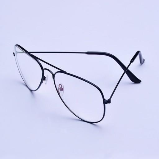 عینک طبی با شیشه UV400 فریم فلزی نقره ای (عکس فریم مشکی هست اما فریم نقره ای موجوده)- باسلام