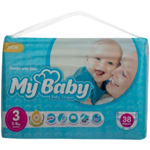 پوشک بچه مای بی بی آبی دوبل سایز 3 بسته 38 عددی- باسلام